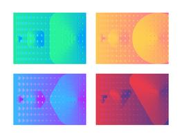 Poster set design gradient colorful halftone shape style vector