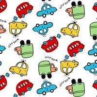 Hand drawn cartoon bus and car pattern