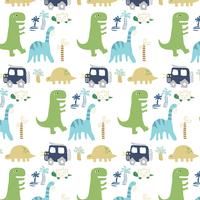Hand drawn simple shape dinosaur pattern
