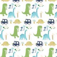 Patrón de dinosaurio de forma simple dibujado a mano vector