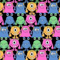 Hand drawn goofy bright monster pattern  vector