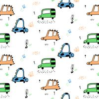 Hand drawn animal cars with faces pattern  vector