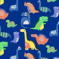 Hand drawn bright shapes dinosaur pattern