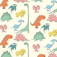 Hand drawn colorful retro dinosaur pattern vector
