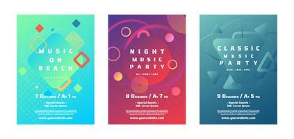 Set di poster di musica sulla spiaggia