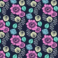 Hand drawn colorful bold flower blossom pattern