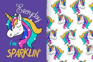 Everyday I'm Sparklin Unicorn Pattern Set vector
