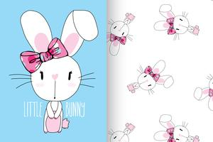 Little Bunny Hand drawn cute rabbit with pattern set