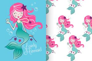 mermaid with pattern set