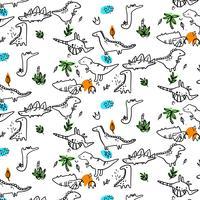 Hand drawn simple black line dinosaur pattern vector