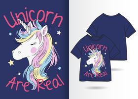 Hand drawn  unicorn for t-shirt