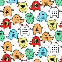 Hand drawn colorful simple monster dinosaur pattern