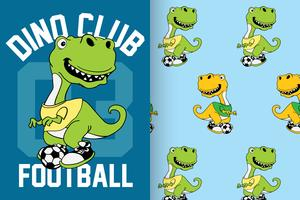 Dino Club Football Hand Drawn Dinosaur Pattern Set