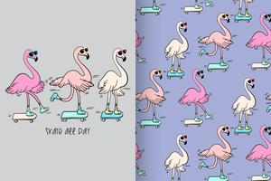 Skate All Day Hand Drawn Flamingo Pattern vector