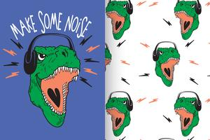 Make Some Noise Hand Drawn dinosaur with pattern set vector