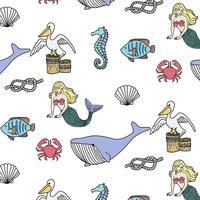 Hand getekend zeemeermin zomer patroon