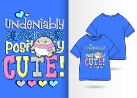 Hand drawn cute penguin t-shirt design