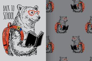 Conjunto de patrones de oso de regreso a la escuela vector