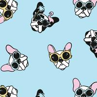 Hand drawn dogs with sunglasses pattern