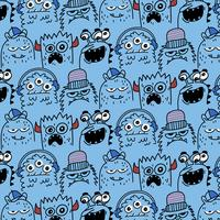 Hand drawn goofy expressions monster pattern