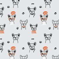 Hand drawn black line happy dog pattern  vector