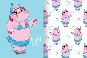 hippo with pattern set vector
