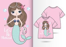 Sirena linda dibujada a mano