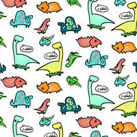 Hand drawn skateboarding dinosaurs pattern