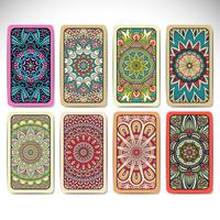 Business Cards set in ethnic style. Vintage decorative elements.