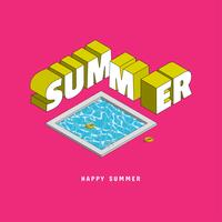 Summer with typography vector