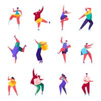 Set of flat people dance at a party characters
