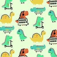 Hand drawn colorful dinosaurs playing pattern