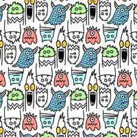 Hand drawn line silly scary monster pattern  vector