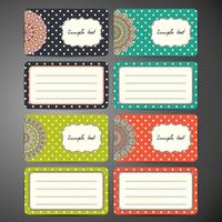 Business Cards Set in Ethnic Style with Dots. Vintage decorative elements.
