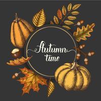 Sfondo autunno con foglie disegnate a mano, zucche e spazio per il testo