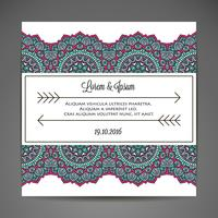 Invitation card with lace ornament. vector