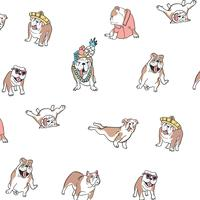 Hand drawn goofy dog in clothes  pattern