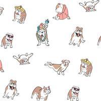Perro bobo dibujado a mano en patrón de ropa