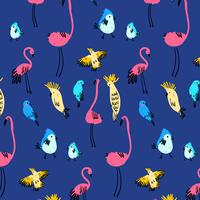 Hand drawn colorful bright bird pattern