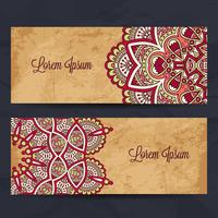 Long Business Cards in Ethnic Style. Vintage decorative elements.