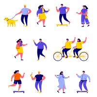 Set of flat people performing summer outdoor activities characters vector