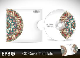 CD cover design template in ethnic style vector