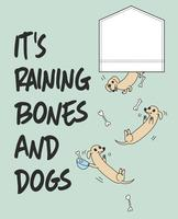 Hand drawn cute dogs and bones falling out of pocket illustration