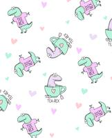 Hand Drawn Dinosaur Pattern  vector