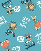 Let's Go To The Party Animal Pattern  vector