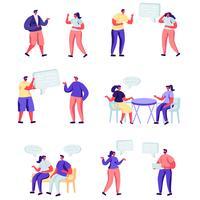 Conjunto de personajes de redes sociales de personas planas