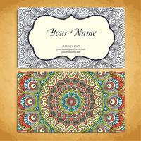 Business Card in ethnic style. Vintage decorative elements.