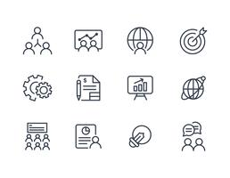 Business icon collection in line