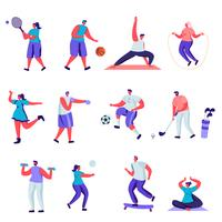 Set of flat people sports activities characters