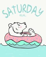 Saturday Relax Bear  vector